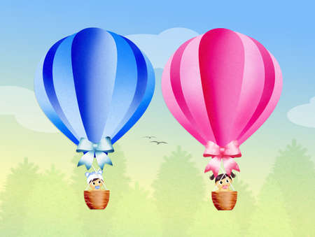 hot couple: hot air balloons in the sky