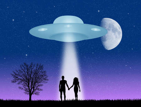 alien women: couple and Ufo silhouette