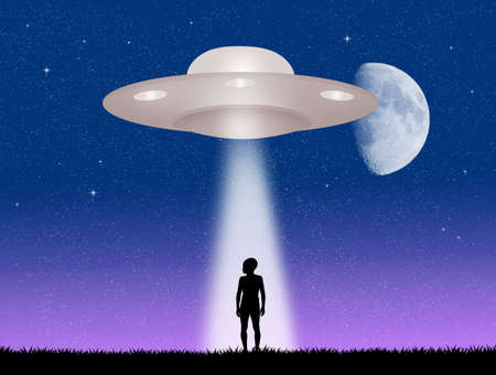 mystery man: ufo and Alien Stock Photo
