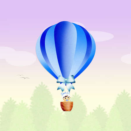 air baby: baby on hot air balloon