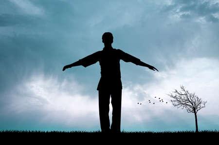 meditation man: man in meditation at sunset