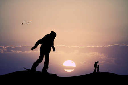 mountain pass: skier silhouette at sunset