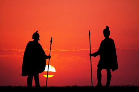 soldiers: Roman soldiers at sunset