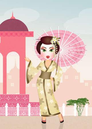 geisha: Japanese Geisha with umbrella