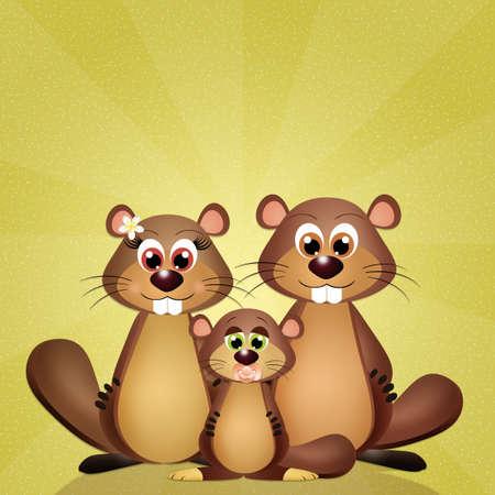 animal den: groundhogs Stock Photo