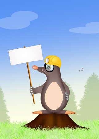 lovable: mole with sign Stock Photo