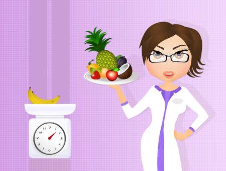 dietitian: dietitian girl with fresh fruit