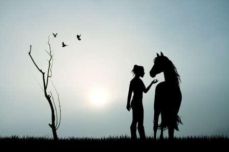 vaqueras: muchacha y el caballo en la niebla
