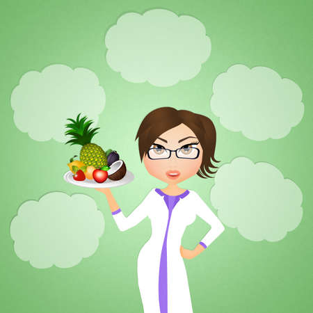 dietitian: dietitian with fruit Stock Photo