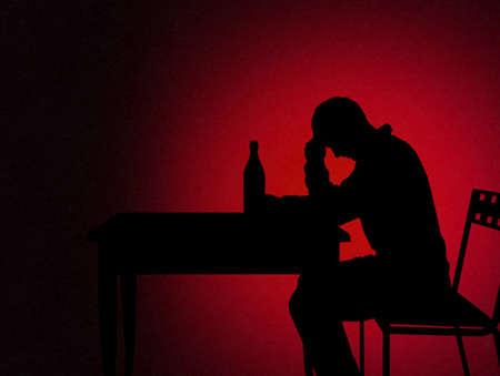 frustration: alcoholic man Stock Photo