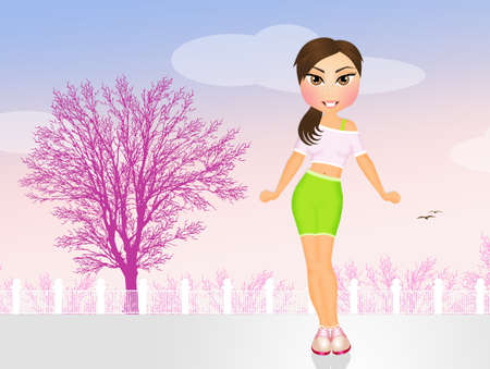 fit: girl walking to stay fit