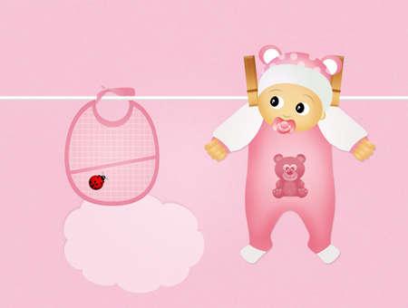 babero: femenina bebé y babero rosado