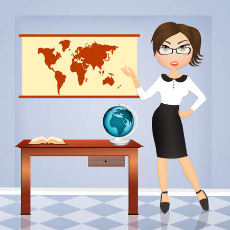travel agency: girl in the travel agency Stock Photo