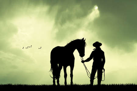 arid: Man and horse at sunset Stock Photo