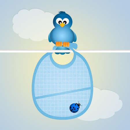 babero: pájaro azul con el babero para el bebé