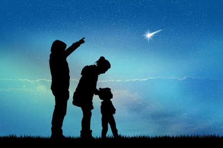 look at: people look the shooting stars