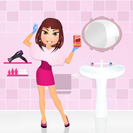 bath room: girl with dyed hair Stock Photo
