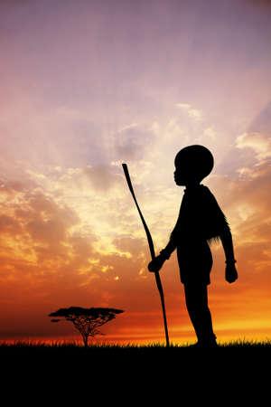 masai: African child at sunset