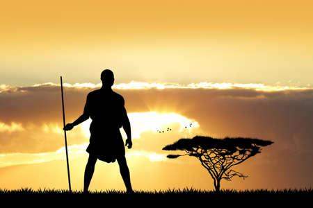 indigenous: Indigenous at sunset