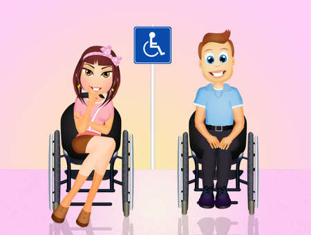 lame: couple on the wheelchair