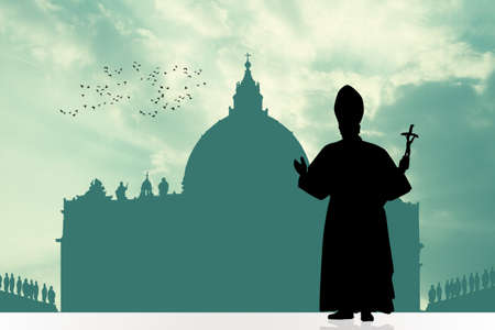 pope: pope silhouette Stock Photo