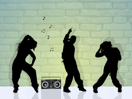 stylish couple: people dancing hip hop Stock Photo