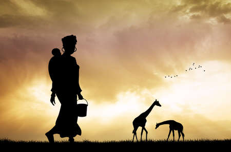 zulu: African woman and son at sunset