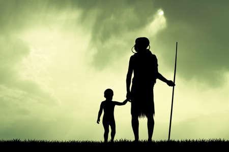 masai: Masai and child at sunset