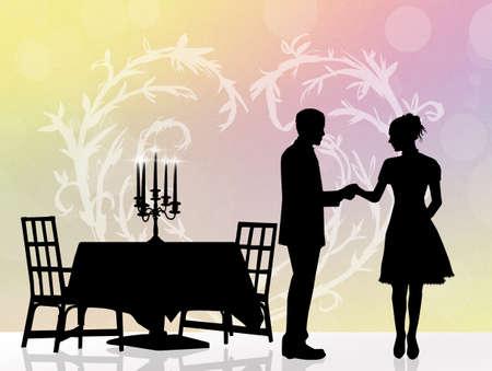 romantic: couple romantic dinner