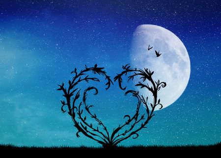 heart tree in the moonlight