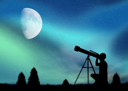 northern lights: Man looks at the Northern Lights with the telescope