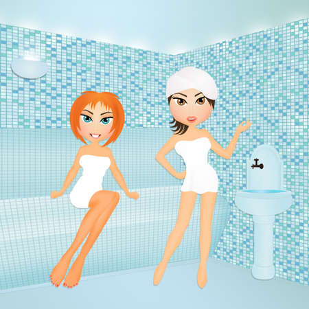 steam bath: girls makes steam bath