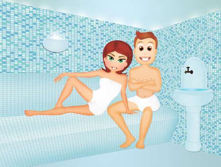 steam bath: couple in turkish bath