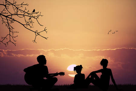 the carefree: carefree family plays and sings Stock Photo