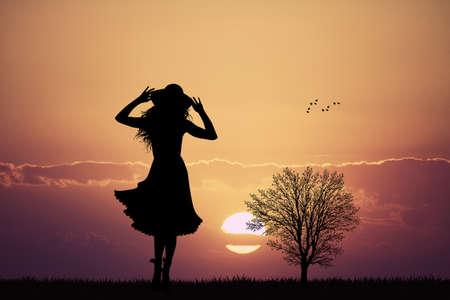 autumn woman: girl silhouette in autumn
