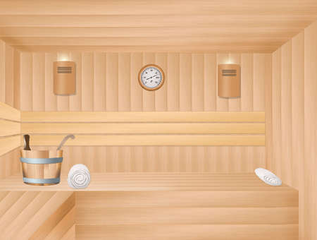 steam bath: illustration of sauna