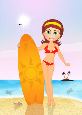surf girl: girl with surf in summer