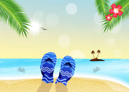 flipflops: flip-flops on the beach Stock Photo