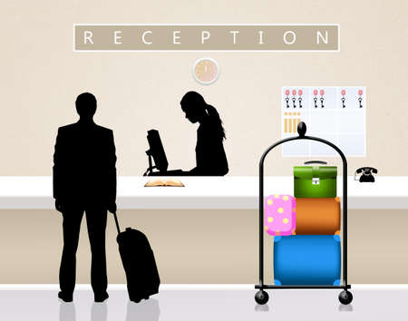 receptionist: receptionist in hotel Stock Photo