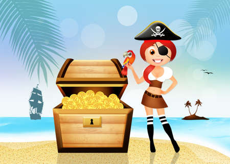 pirate girl: Pirate girl and treasure chest Stock Photo