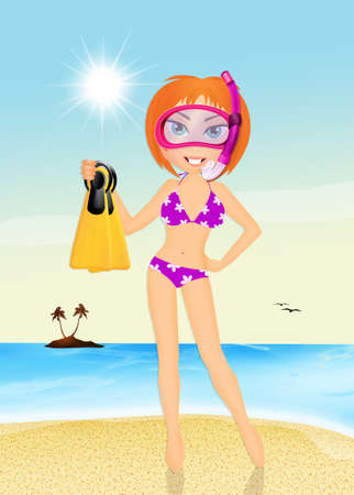 scuba mask: girl with scuba mask and fins Stock Photo