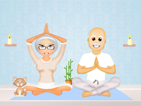 older couple: older couple doing yoga