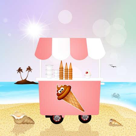 carretto gelati: gelato carrello sulla spiaggia