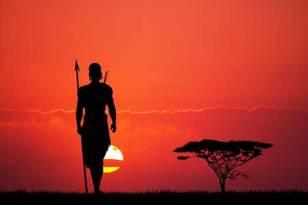 indigenous: Indigenous man at sunset