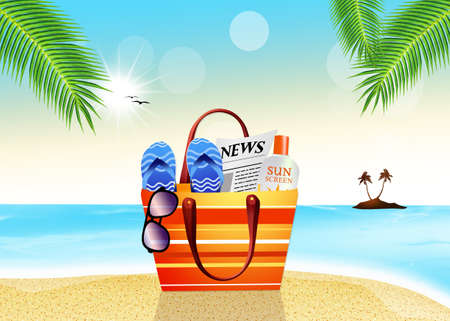 beach bag: beach bag on the beach