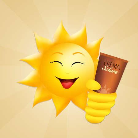 sunburn: sun with sun cream