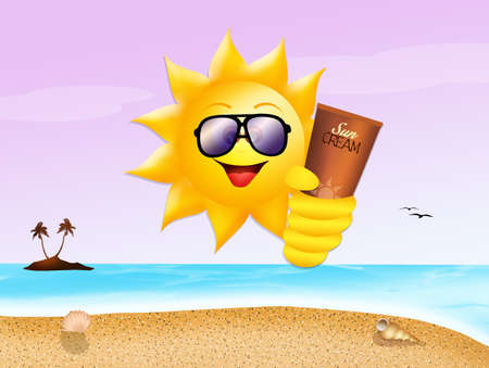 suntan cream: funny sun with sunscreen Stock Photo