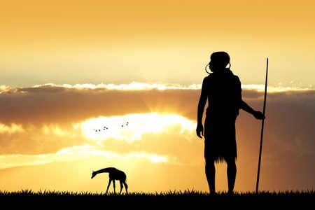 zulu: Masai silhouette in African landscape