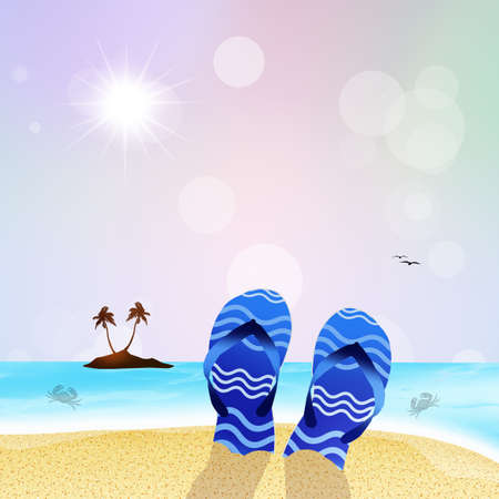 foots: flip-flops on the beach Stock Photo