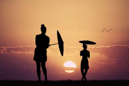 carefree: girl dancing with umbrella